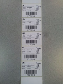 Reifenetiketten COSYS Ident GmbH