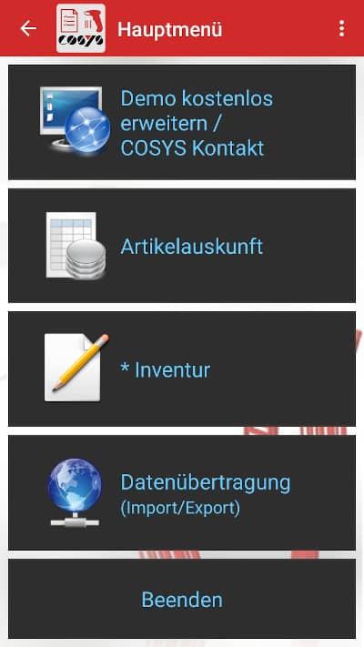 COSYS Inventur App Kostenlose Demo