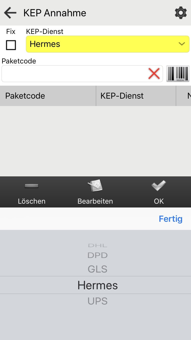 KEP Annahme mit Android Pakettransport App