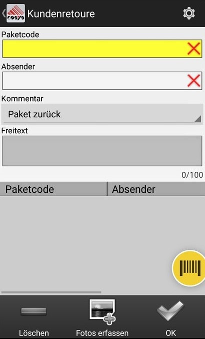 Wareneingang Auswahl Android Software von COSYS