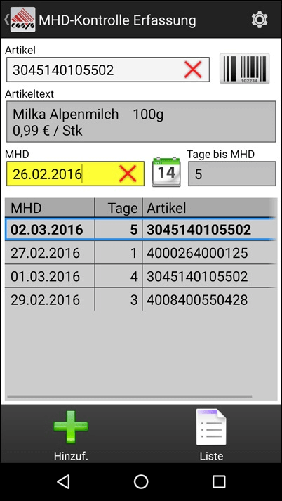 MHD Kontrolle Android Software von COSYS