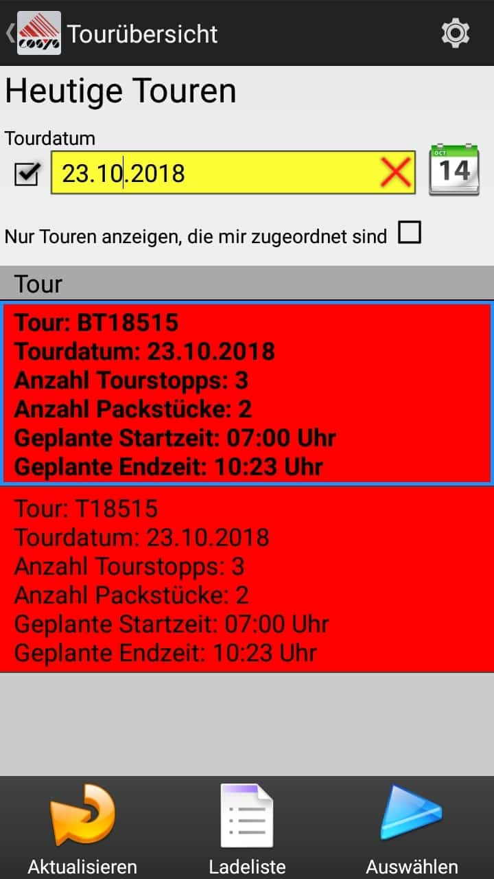 Tourübersicht - Delivery Software