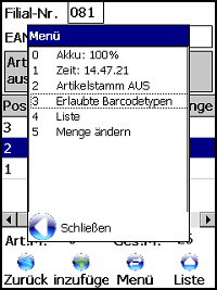 Retoure Positionsbearbeitung Windows Mobile / CE Software von COSYS