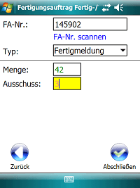 Produktions Fertigmeldung Windows Mobile / CE Software COSYS