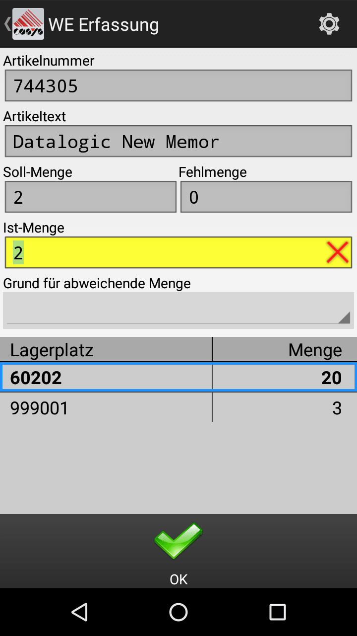 Wareneingang mit COSYS Android Software